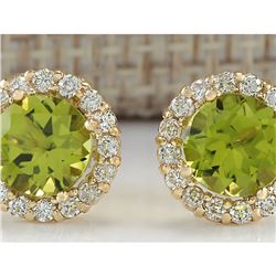 3.65 CTW Natural Peridot And Diamond Earrings 18K Solid Yellow Gold