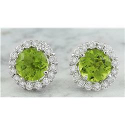 3.65 CTW Peridot 14K White Gold Diamond Earrings