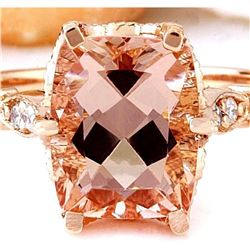 3.4 CTW Natural Morganite 18K Solid Rose Gold Diamond Ring