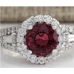 4.02 CTW Natural Pink Tourmaline And Diamond Ring 18K Solid White Gold
