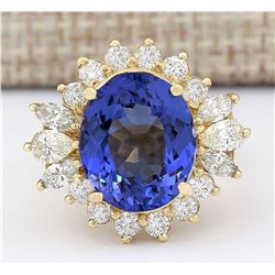 10.64 CTW Natural Tanzanite And Diamond Ring In 18K Yellow Gold