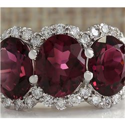 6.48 CTW Natural Pink Tourmaline And Diamond Ring 14K Solid White Gold