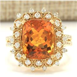 6.39 CTW Natural Madeira Citrine And Diamond Ring 18K Solid Yellow Gold