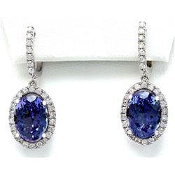 12.30 CTW Natural Tanzanite 14K Solid White Gold Diamond Earrings