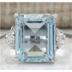 4.72 CTW Natural Aquamarine And Diamond Ring In 18K White Gold