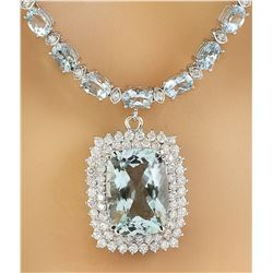 39.00 CTW Aquamarine 14K White Gold Diamond Necklace