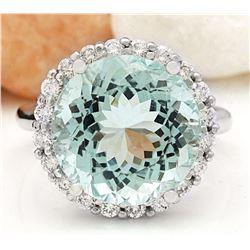 10.23 CTW Natural Aquamarine 18K Solid White Gold Diamond Ring