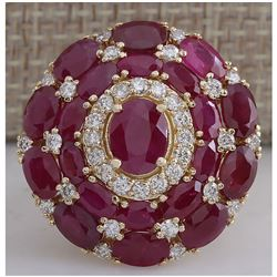 13.23 CTW Natural Red Ruby And Diamond Ring 18K Solid Yellow Gold