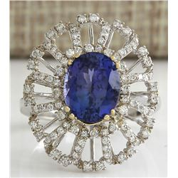 4.02 CTW Natural Blue Tanzanite And Diamond Ring 18K Solid White Gold