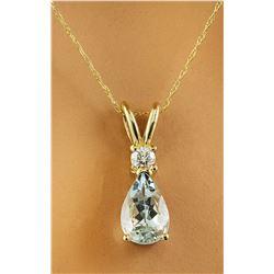 1.60 CTW Aquamarine 14K Yellow Gold Diamond Necklace