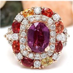 10.23 CTW Natural Sapphire 18K Solid Rose Gold Diamond Ring