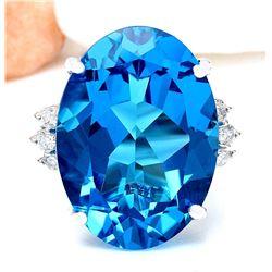 23.15 CTW Natural Topaz 14K Solid White Gold Diamond Ring