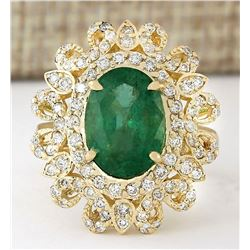 5.16 CTW Natural Emerald And Diamond Ring In 18K Yellow Gold
