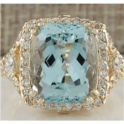 9.03 CTW Natural Blue Aquamarine And Diamond Ring 14K Solid Yellow Gold