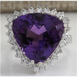 10.85 CTW Natural Amethyst And Diamond Ring In 18K Solid White Gold