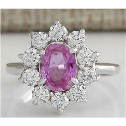 2.30 CTW Natural Pink Ceylon Sapphire Diamond Ring 18K Solid White Gold