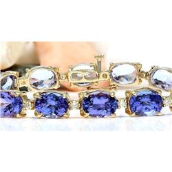 29.50 CTW Natural Tanzanite 14K Solid Yellow Gold Diamond Bracelet