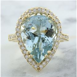 7.50 CTW Aquamarine 18K Yellow Gold Diamond Ring