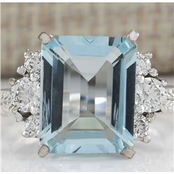 4.91 CTW Natural Aquamarine And Diamond Ring In 18K White Gold