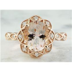 2.77 CTW Morganite 18K Rose Gold Diamond Ring