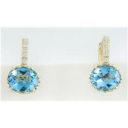 4.40 CTW Topaz 14K Yellow Gold Diamond earrings