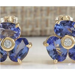 3.06 CTW Natural Blue Tanzanite And Diamond Earrings In 18K Yellow Gold