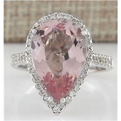 6.82 CTW Natural Morganite And Diamond Ring In 18K White Gold
