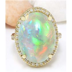 21.58 CTW Natural Opal 14K Solid Yellow Gold Diamond Ring