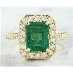 3.40 CTW Emerald 14K Yellow Gold Diamond Ring