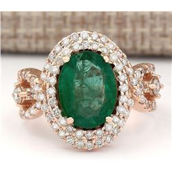5.25 CTW Natural Emerald And Diamond Ring In 18K Rose Gold
