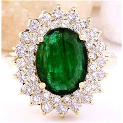 4.28 CTW Natural Emerald 14K Solid Yellow Gold Diamond Ring