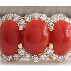 5.30CTW Natural Red Coral And Diamond Ring 18K Solid Yellow Gold