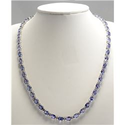 47.30 CTW Natural Tanzanite And Diamond Necklace In 14K White Gold