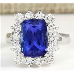 5.88tw Natural Blue Tanzanite And Diamond Ring 18K Solid White Gold