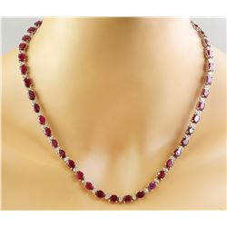 46.80 CTW Ruby 18K White Gold Diamond Necklace