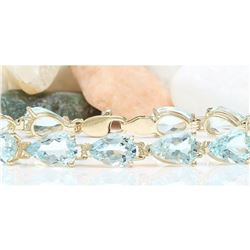 25.00 CTW Natural Aquamarine 18K Solid Yellow Gold Bracelet