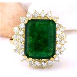6.60 CTW Natural Emerald 18K Solid Yellow Gold Diamond Ring