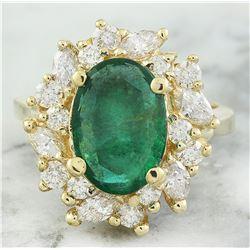 4.67 CTW Emerald 18K Yellow gold Diamond ring