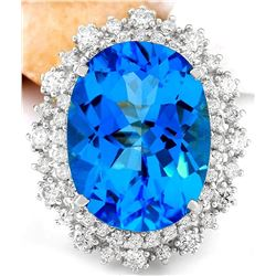 18.41 CTW Natural Topaz 14K Solid White Gold Diamond Ring