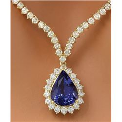 17.67 CTW Natural Tanzanite 18K Solid Yellow Gold Diamond Necklace