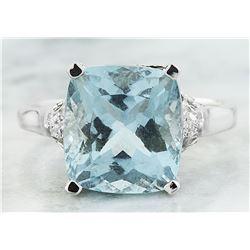 5.50 CTW Aquamarine 18K White Gold Diamond Ring