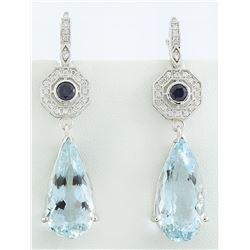 21.50 CTW Aquamarine Sapphire 18K White Gold Diamond Earrings