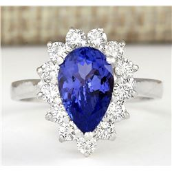 2.58 CTW Natural Blue Tanzanite And Diamond Ring 18K Solid White Gold