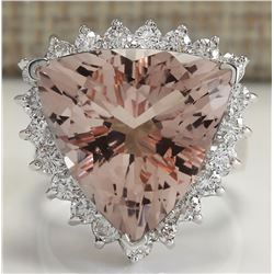 13.72 CTW Natural Peach Morganite And Diamond Ring In 18K Solid White Gold