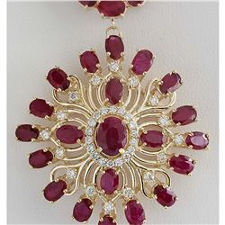 57.62 CTW Natural Ruby And Diamond Necklace In 18K Yellow Gold