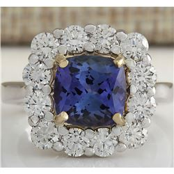4.66CTW Natural Blue Tanzanite And Diamond Ring In18K White Gold