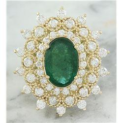 7.15 CTW Emerald 14K Yellow Gold Diamond Ring