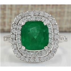 3.74 CTW Natural Emerald And Diamond Ring In 14K White Gold