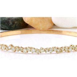1.57 CTW Natural Diamond 18K Solid Rose Gold Bracelet