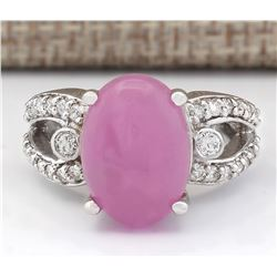 7.25 CTW Natural Pink Jade And Diamond Ring In 14k White Gold